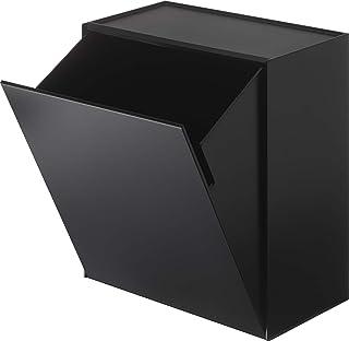 山崎実業(Yamazaki) ウォールトイレポット & 収納ケース ブラック 約W20.5XD12.2XH24cm タワー フラップ式 小物収納 ゴミ箱 5430