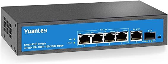 YuanLey 4 Port Gigabit PoE Switch, 1 Uplink Gigabit Ethernet and 1 SFP Port, PoE Plus 802.3af/at, 78W Built-in Power, Fanless Metal Unmanaged Plug & Play