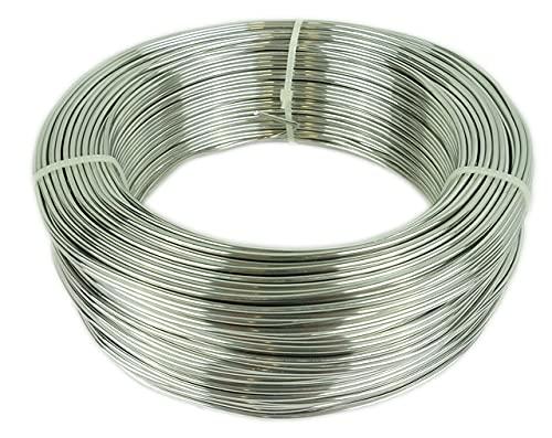 Novaliv Fil en aluminium - Diamètre : 2 mm - Fil de bricolage argenté - Fil en aluminium pour travaux manuels, fleurs, bijoux