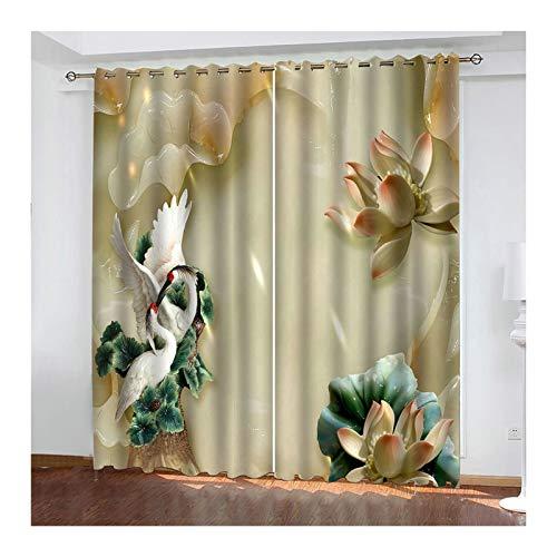 Knbob Polyester Gardinen Bunt Kran und Blume Fenster Vorhänge Küche Größe 214x138CM