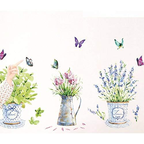 Gudojk muurstickers, muursticker, wanddecoratie, decoratie voor slaapkamer, vaas met bloemen, vlinders, voor keuken, ramen, raamdecoratie