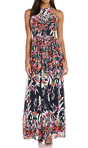 Eliza J Women's Printed Halter Maxi Dress, Pink/Multi, 8