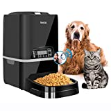 Iseebiz Automatic Pet Feeder, 6L Dogs Cats Food Dispenser with Transparent Cap, Removable Plate, Time Programmable, Voice Record Remind, Portion Control, IR Detect, 4 Meals a Day for Large Dogs Cats