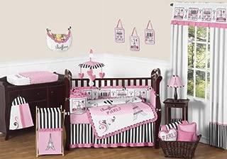 Sweet Jojo Designs 9-Piece Pink, Black and White Stripe Paris Baby Girl Bedding French Eifell Tower Crib Set