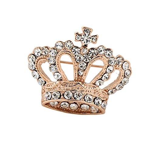 Crown Shape Rhinestone Brooch Pin Gold