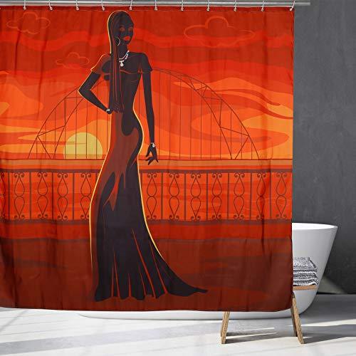 Schwarzes Mädchen Duschvorhang Afro American African Schwarze Frau Duschvorhang Sexy Lady Wasserdichter Polyester Stoff Bad Duschvorhang Set mit 12 Haken für Stall, Badewannen Dekor (Rot, 180cmx180cm)