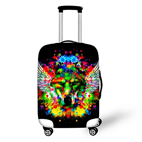 HUGS IDEA Wing Wolf Print Spandex Elastic Travel Trolley Suitcase Protective Cover for 22/24/26 Inch Luggage