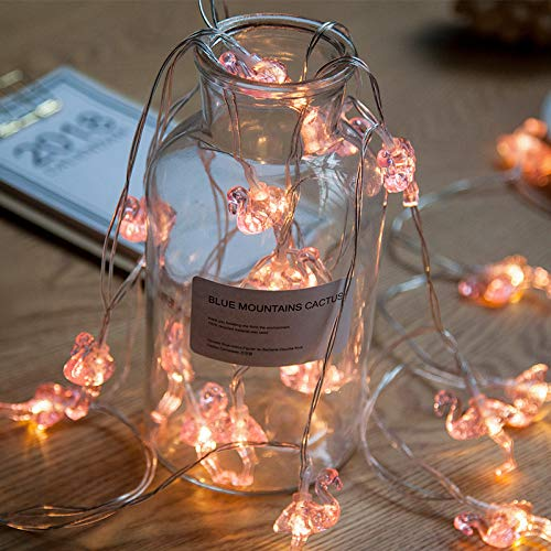Danolt 20 LED 9.8ft Pink Flamingos Fairy LED String Light Romantic Battery Operate Decor for Wedding Birthday Party Girls Gift Bedroom Kids Room Home, Warm White.