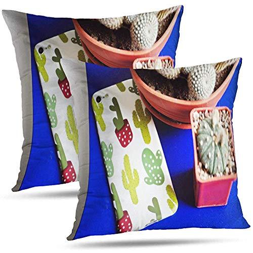 Pamela Hill Juego de 2 Funda para teléfono Inteligente Cactus Black Cell Cojines Decorativos Funda de cojín para Dormitorio Sofá Sala de Estar 18 x 18 Pulgadas-R3