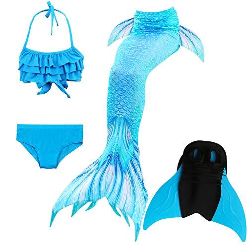 Das beste Mädchen Bikini Badeanzüge Schönere Meerjungfrauenschwanz Zum Schwimmen mit Meerjungfrau Flosse Schwimmen Kostüm Schwanzflosse - Ein Mädchentraum- Gr. 140, Farbe: B - Blau