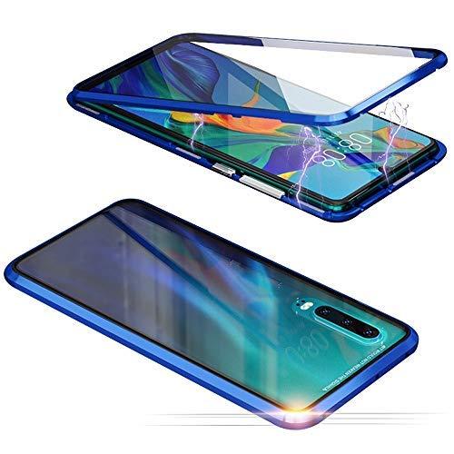 Jonwelsy Hülle für Samsung Galaxy A90 5G, Magnetische Adsorption Metall Stoßstange Flip Cover mit 360 Grad Schutz Doppelte Seiten Transparent Gehärtetes Glas Handyhülle für Samsung A90 (Blau)