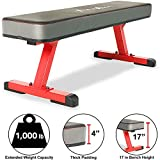 """Fitness Reality 1500 4"""" Extra Thick Pad Flat Weight Bench with International..."""