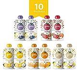 yamo Bio Quetschies, Intro-Set, Bio-Früchte, 100 % natürliche Bio-Zutaten, ab 6 Monate, 10er Pack, (10 x 120g)