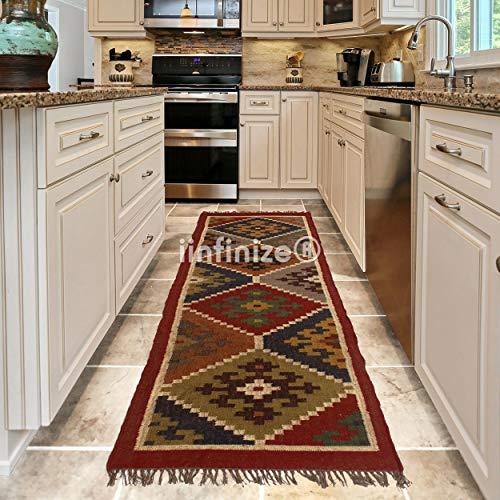 iinfinize - Tappeto in lana intrecciata a mano, stile vintage, per pavimento turco, Kilim, decorazione per la casa e la cucina, per corridoio