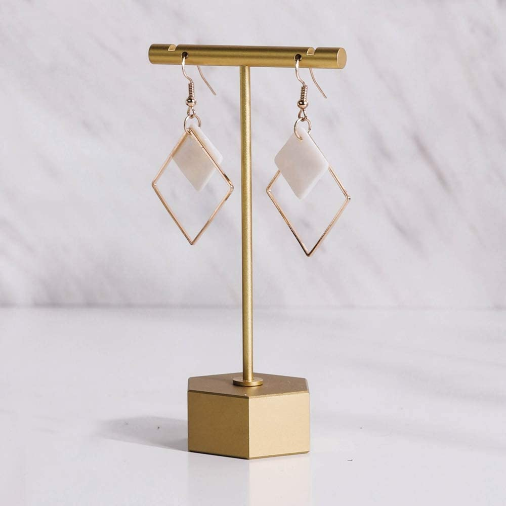 GemeShou Gold Metal Earring T Bar Stand Retail Display Holders for Show, Jewelry Online Stores Photography Display Props Organizer【Gold-Hexagon Base Height 4.5