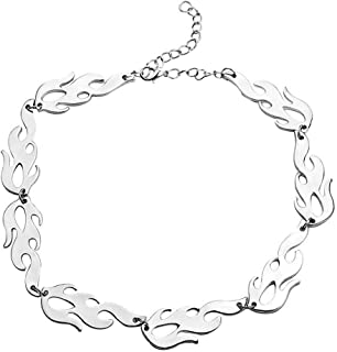 Harajuku Streetwear Flame Women Unisex Necklace Punk Accessory Rock Chain Stainless Steel Men Choker Necklaces Jewelry