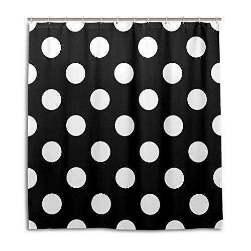 MyDaily Duschvorhang mit weißen Punkten, 182,9 x 182,9 cm, schimmelresistent & wasserdicht, Polyester, Dekoration für das Badezimmer