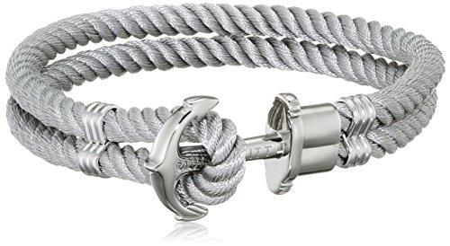 PAUL HEWITT Anker Armband Herren PHREP - Anker Armband Nylon (Grau), Segeltau Armband Männer mit Anker Schmuck aus Edelstahl (Silber)
