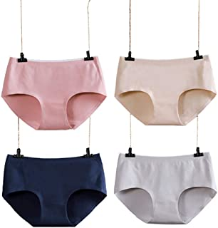 Women Underwear Cotton Panties 4PACK Breathable Ladies Soft Panty Mid Waist Full Coverage Brief