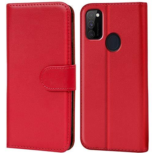 Verco Samsung M30s Hülle, Galaxy M21 Hülle Handyhülle für Samsung Galaxy M30s / M21 Tasche PU Leder Flip Hülle Brieftasche, Rot