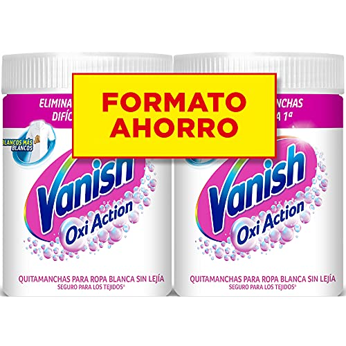 Vanish Oxi Action - Quitamanchas y Blanqueador para Ropa Blanca, en Polvo, Sin Lejía - Pack de 2 x 900 g