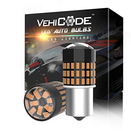 VehiCode 7507 LED Bulb Amber Yellow Light 3000K Bright Kit PY21W BAU15S Single Contact Bayonet Replacement with Projector for Car Front and Rear Turn Signal Light Blinker Parking Lamps (2 Pack)