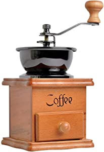 Coffee Mill,Manual Coffee Grinder Vintage Style Wooden Hand Crank Coffee Mill With Grind Settings & Catch Drawer or Home Use and Travel 9.5 x 9.5 x 17 cm