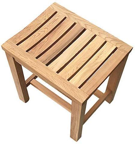 Fantastic Deal! TZSMYD Solid Wood Shower Seat Bathroom Bench Stool Waterproof Spa Bath Organizer Erg...
