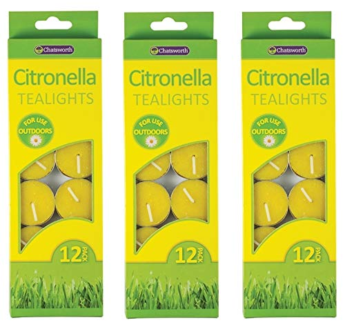 3 x Chatsworth Pack Of 12 Citronella Tealight Candles Outdoor Insect Repellent