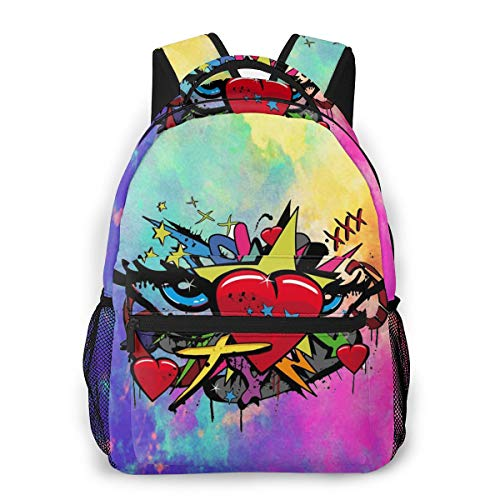 Pop Art Love Graffiti Heart Schoolbag Backpack Middle School College Student Teenagers Adult Casual Travel Bag Computer Laptop