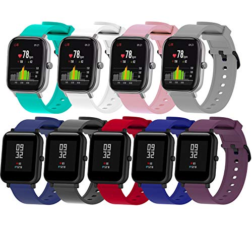 BOLESI 9PCS Bands Replacement for Amazfit Bip / GTS / GTS 2 Smartwatch and Sumsung Galaxy Watch Active 2 / Galaxy Watch 3 41mm, 20mm Quick Release Watch Soft Silicone Band