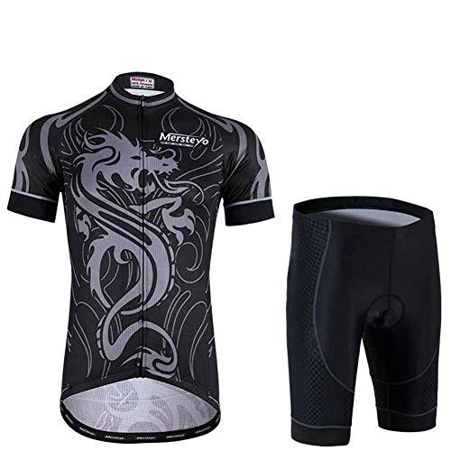 Fbestxie Homme Cuissard VTT Unisex Maillot vélo à Manches Courtes Respirant Vêtements Cyclisme Plein air Sport Costume Sudation Survêtements,L