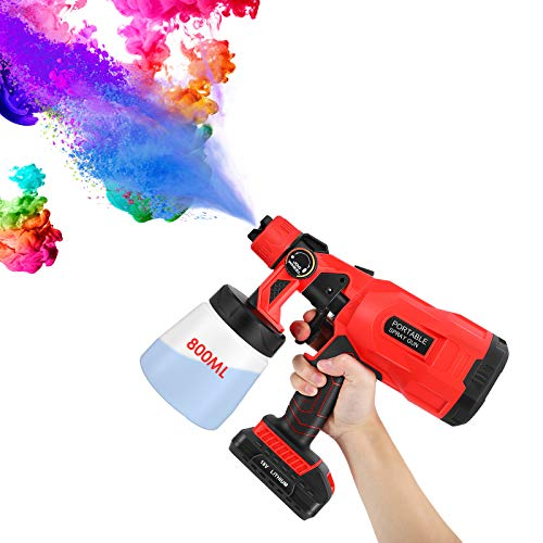 pistola spruzzo batteria,pistola a spruzzo HVLP senza fili con 3 modalità di spruzzatura e manopole delle valvole regolabili,controllo del flusso e contenitore rimovibile da 800 ml