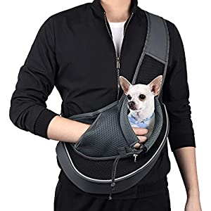 WOYYHO Pet Dog Sling Carrier Puppy Sling Bag Small Cats Dogs Sling Adjustable Strap Breathable Mesh for Outdoor Travel(S(up to 5 lbs), Black)