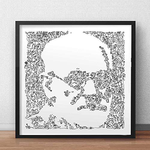 Sigmund Freud stampa con scarabocchi all'interno del ritratto | Molti dettagli su Neurologo austriaco e fondatore della psicoanalisi | poster di arte illustrazione in bianco e nero regalo difficile