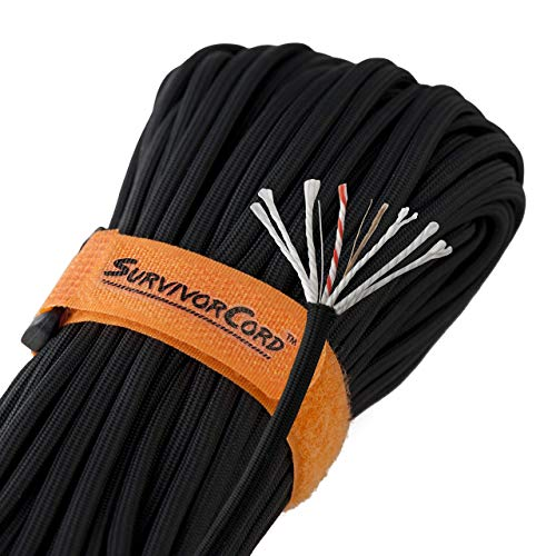620 LB SurvivorCord, 100 FEET, Black - The Original Patented Type III Military 550 Paracord/Parachute Cord with Integrated Fishing Line, Multi-Purpose Wire, and Waterproof Fire Starter.