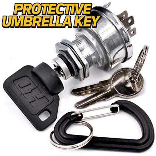 HD Switch Starter Ignition Switch Replaces John Deere TCA22740, TCA15075, AM101561 with 3 Keys & Free Carabiner