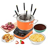 GREECHO Digital Electric Fondue Set — 3.2 Quart Fondue Pot of Stainless Steel Cookware With...