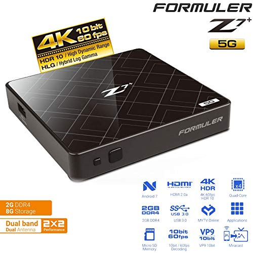 Formuler Z7+ Plus 5G Dual Band Android WiFi OTT 4K Box Nougat 7 y Bluetooth (negro)