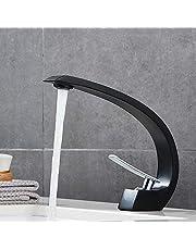 Auralum Mengkraan voor wastafel, één gat, zwart, badkamer, messing, modern design, armatuur, koud en warm water, voor wastafel / wastafel