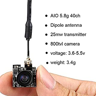 Micro AIO FPV Camera 5.8G 40CH 25MW VTX 800TVL 5.8ghz 150° Wide Angle for Indoor FPV Quadcopter Drone Like Blade Inductrix Tiny Whoop etc