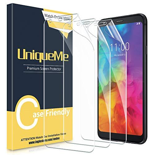 UniqueMe Kompatibel für LG Q7/LG Q7 Plus Schutzfolie, (3 Stück) Bildschirmschutzfolie [hohe Qualität] [Ultra Klar] [volle Abdeckung][ Einfache blasenfreie Installation] TPU Schutzfolie