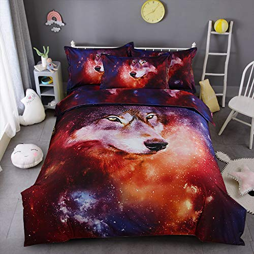 choicehot Galaxy Duvet Cover Wolf Bedding Double Size Set 3 Pieces Starry Sky Universe Printed Quilt Cover with Zipper Closure for Kids Bedding Decor, 1x Duvet Cover + 2 x Pillowcases