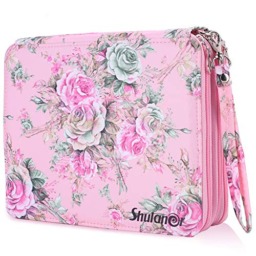 Shulaner 120 Slots Colored Pencil Case with Zipper Closure Large Capacity Pink Rose Oxford Pen Organizer Flower Pencil Holder