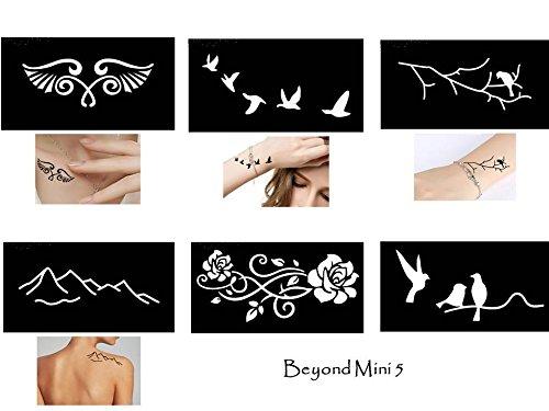 Tattoo Schablonen Vorlagen 6 kleine Sheet Set Mini 5 für Henna Tattoo Glitter Tattoo Air Brush Tattoo