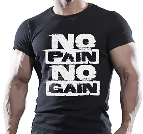 T-shirt de motivation pour homme « No Pain No Gain » - Multicolore - XX-Large