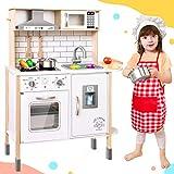 Tiny Land CocinaJuguete para niños con 18 Accesorios de Comida y Utensilios de Cocina de Juguete Juego de Juego de Chef de Madera para niños pequeños con Luces y Sonidos Reales