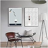 QIAOB Druck auf Leinwand, abstrakte Nordic Poster Schwimmen