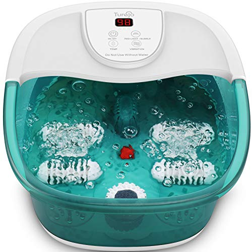Foot Spa and Massager, Turejo Foot Spa for Home Use, Foot Massager Bath with Bubble, Vibration, 4 Manual Massage Rollers, Pumice Stone and Infrared Heater for Sore Feet Relief - New Green