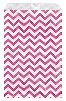 RJ Displays-100 pcs Pack Pink Chevron Paper Gift Bags Shopping Sales Tote Bags 6  x 9  Gift Card Gift Candy Cookies Doughnut Crafts Party Favor Sandwich Jewelry Merchandise- by RJ Displays